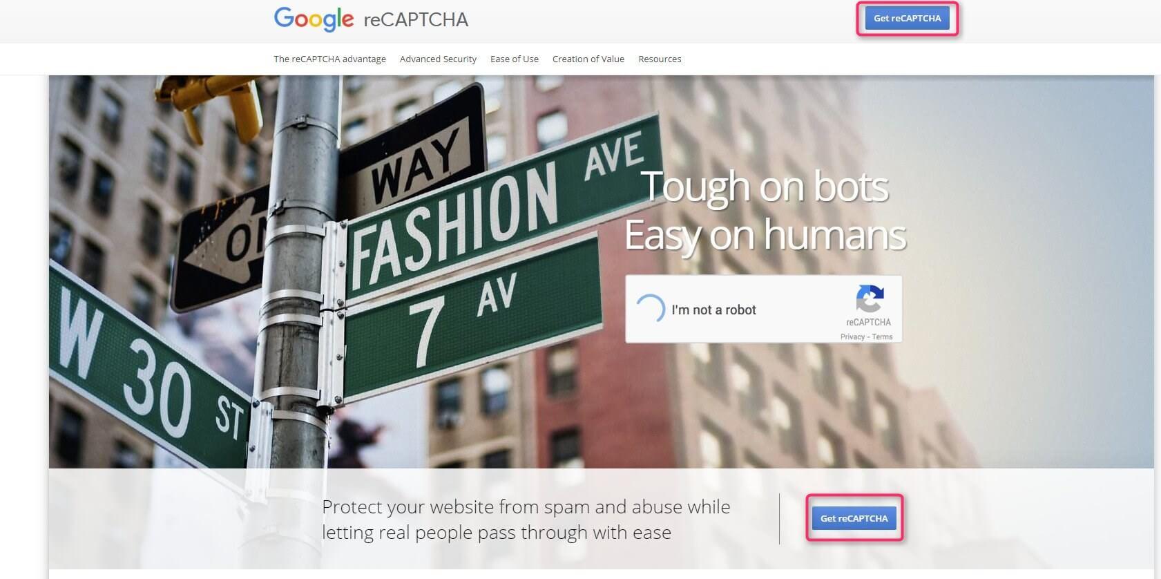 Google reCaptcha公式サイト
