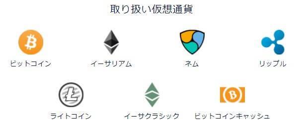 DMM Bitcoin取扱通貨